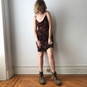 vintage velvet burnout 90s / 00s floral slip dress